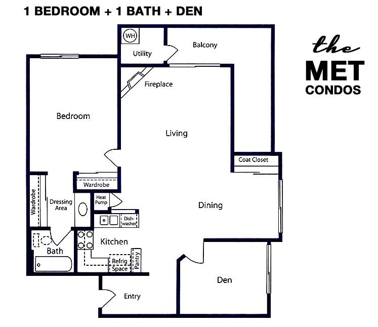 The Met Warner Center Floor Plan 1+1+DEN
