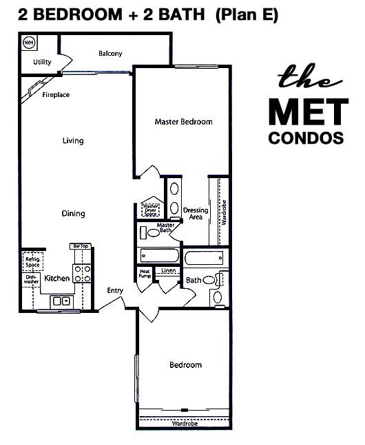 The Met Warner Center Floor Plan 2 Bedroom 2 Bath