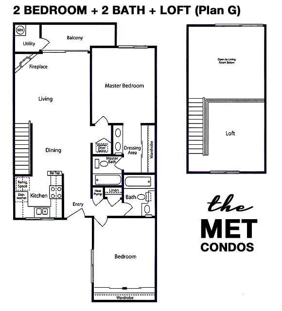 The Met Warner Center Floor Plan 2 Bedroom 2 Bath with a Loft