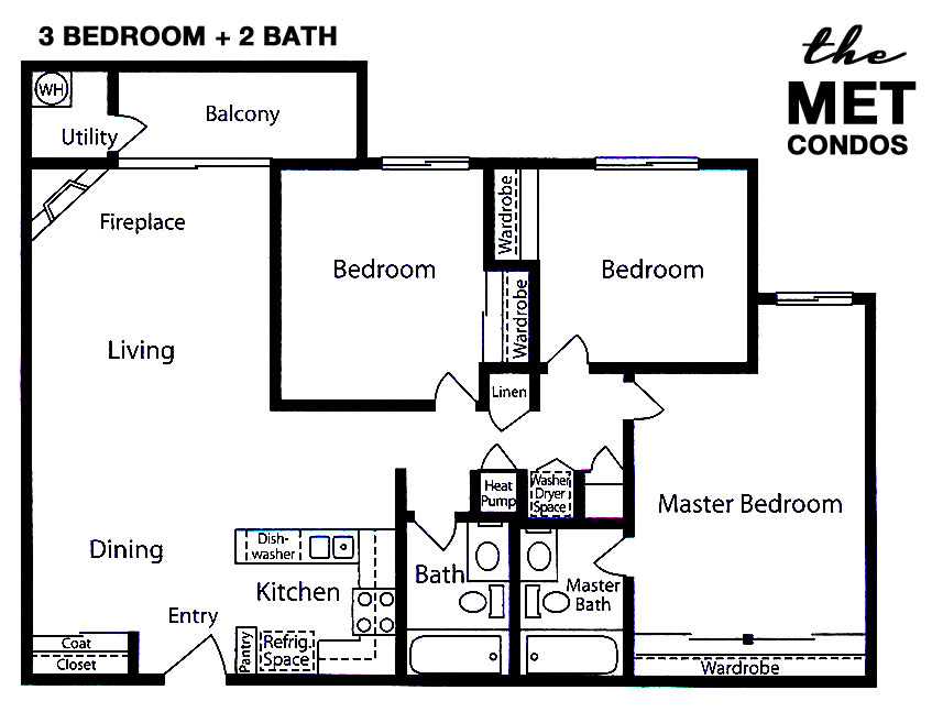 The Met Warner Center Floor Plan 3 Bedroom 2 Bath
